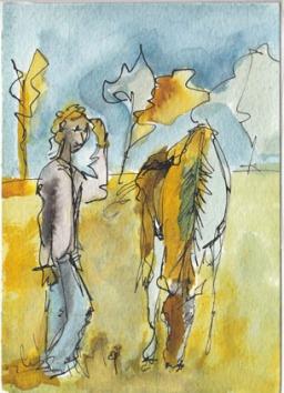 Roi Gitan Dessin sur papier à l'encre de couleur. Dessin 10x15 cm avec cadre blanc. 60 €