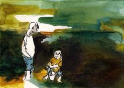 Père et fils Dessin sur papier à l'encre de couleur. Dessin 10x15 cm avec cadre blanc. 60 €