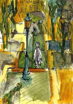 Un touriste à Paris Dessin sur papier à l'encre de couleur. Dessin 10x15 cm avec cadre blanc. 60 €