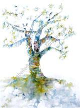 L'arbre à prières - Grand Format - Encres de couleurs. Dessin sur papier en 40 cm x 50cm et Marie Louise dans son cadre blanc 50x70cm - 300 €