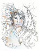 Dessin au format 18x26 cm avec Marie Louise et cadre blanc 20x30 - 130 €