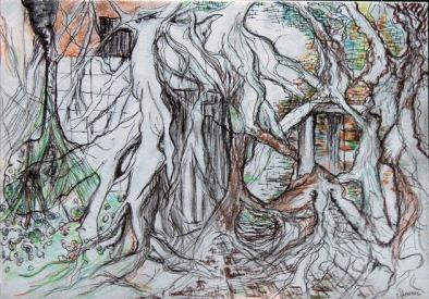Anping Tree House, Dessin petit format 10x15 cm avec sa Marie Louise et son cadre blanc. 60 €