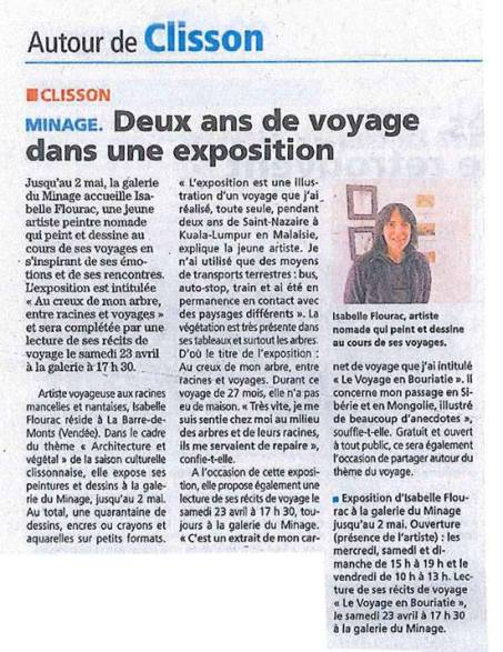 Article de presse sur l'expo à la galerie Minage de Clisson