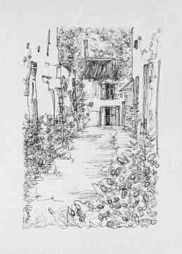 Ruelle. Dessin à l'encre sur papier 10x15 cm, Marie Louise, Cadre Blanc 50 €