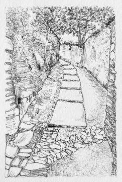 Rue de la Poterne, Vouvant Dessin à l'encre sur papier 10x15 cm, Marie Louise, Cadre Blanc 50 €