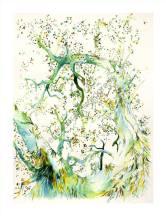 En cascade - Grand Format - Encres de couleurs. Dessin sur papier en 40 cm x 50cm et Marie Louise dans son cadre blanc 50x70cm - 300 €