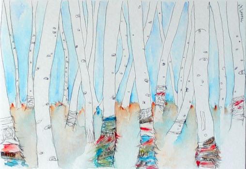 Forêt de bouleaux aux tissus de prières. Dessin 10x15cm à l'encre sur papier avec son cadre blanc (environ 18x24 cm) et sa Marie-Louise . 70 €