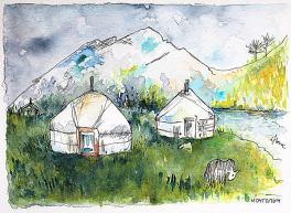Khövsgöl Dessin à l'encre de couleur petit format Issu d'un voyage en Mongolie Marie Louise et Cadre Blanc 70 €