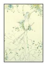 L'arbre de vie - Grand Format - Encres de couleurs et encre noire. Dessin sur papier en 40 cm x 50cm et Marie Louise dans son cadre blanc 50x70cm - 250 €