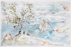 Roche chamane, Baïkal, Sibérie Dessin 18x30 avec cadre 30x40 115 €