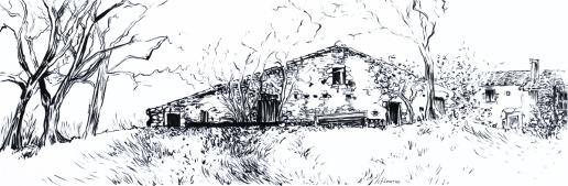La grange. Pinceau encre de Chine. Isabelle Flourac