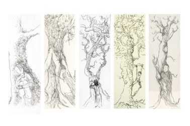 Sous un arbre 1, dessins à l'encre, Isabelle Flourac