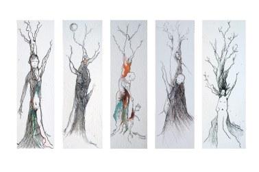 Sous un arbre 2, dessins à l'encre, Isabelle Flourac