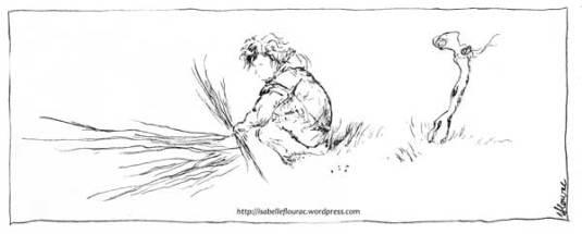 """""""Ramassage"""" - Extrait de la planche """"Ramassage des sarments"""" - Isabelle Flourac - Carnet de vigne réalisé au Vignoble de l'Atrie, Vendée."""