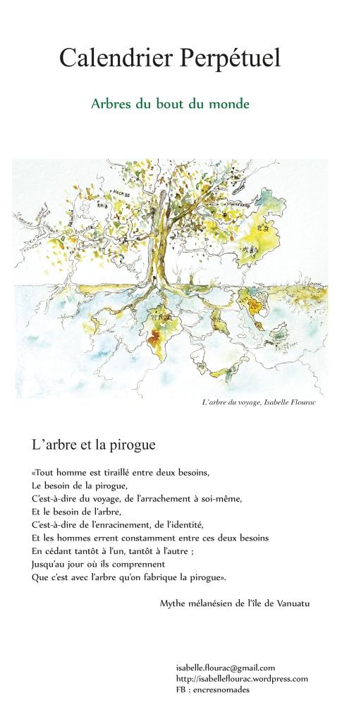 """Illustration à l'encre du texte """"L'arbre et la Pirogue"""" """"Tout homme est tiraillé entre deux besoins. Le besoin de la pirogue. C'est-à-dire du voyage, de l'arrachement à soi-même, Et le besoin de l'arbre. C'est-à-dire de l'enracinement, de l'identité, Et les hommes errent constamment entre ces deux besoins En cédant tantôt à l'un, tantôt à l'autre : Jusqu'au jour où ils comprennent que c'est avec l'arbre que l'on fabrique la pirogue""""."""