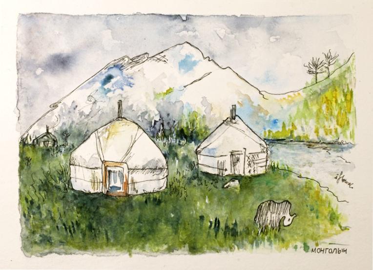 Illustration représentant un camp de yourtes et un Yack à Khövsgöl en Mongolie. Couleurs vertes.