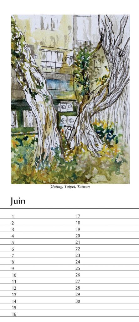 Guting, Taïwan Illustration inspirée par un arbre foisonnant au coeur de la ville, quartier université d'art de Taïpeï.