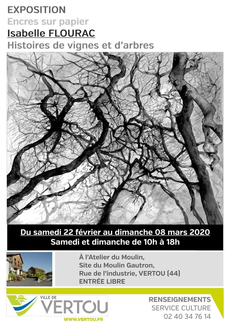 Affiche Exposition Vertou Isabelle Flourac 22 février au 8 mars 2020 à l'atelier du Mouli